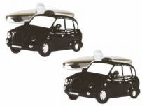 Dalaco 90-1378 Black Cab Rhodium Plated Cufflinks